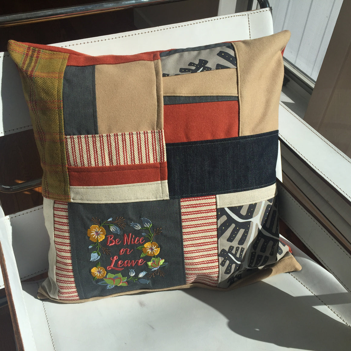 Snarky Patchwork Pillow - Be Nice or Leave
