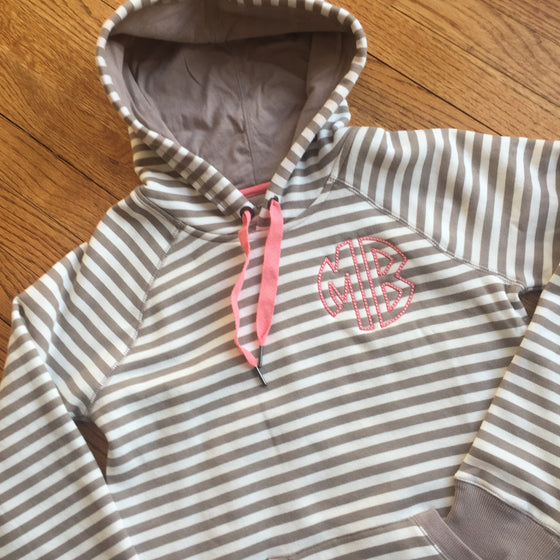 Monogrammed Striped Hoodie Sweatshirt with Kangaroo Pocket