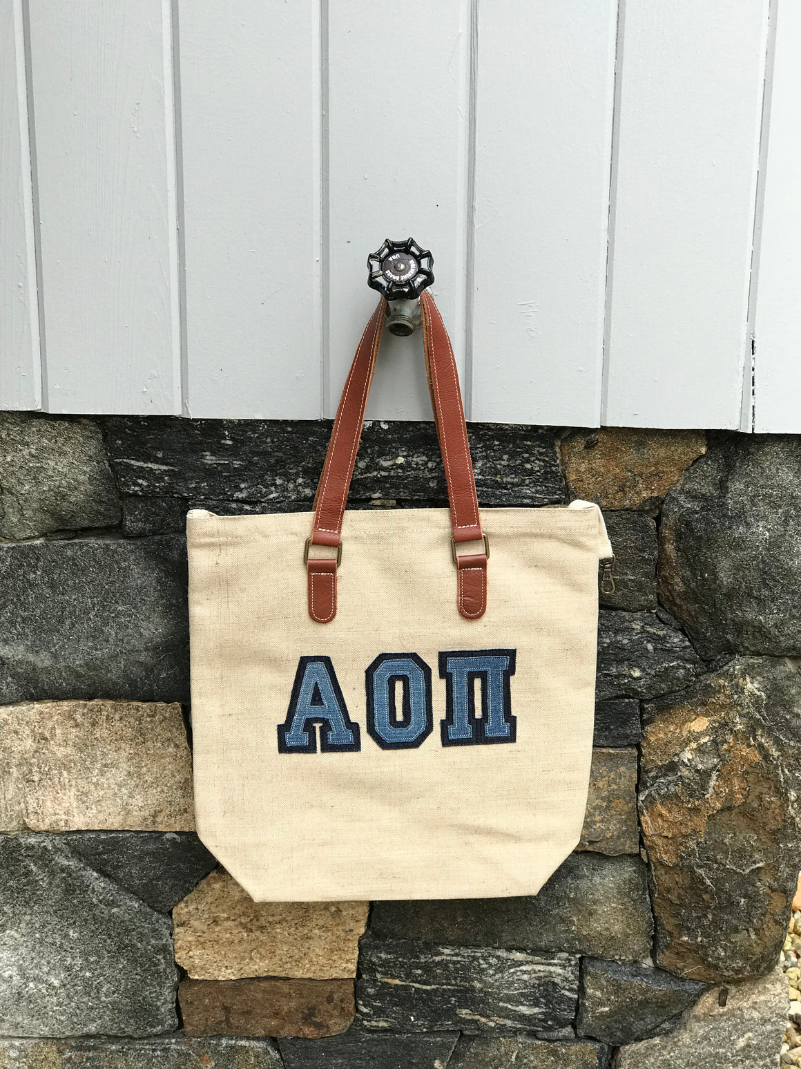 Canvas Jute with Leather Handle Tote Bag
