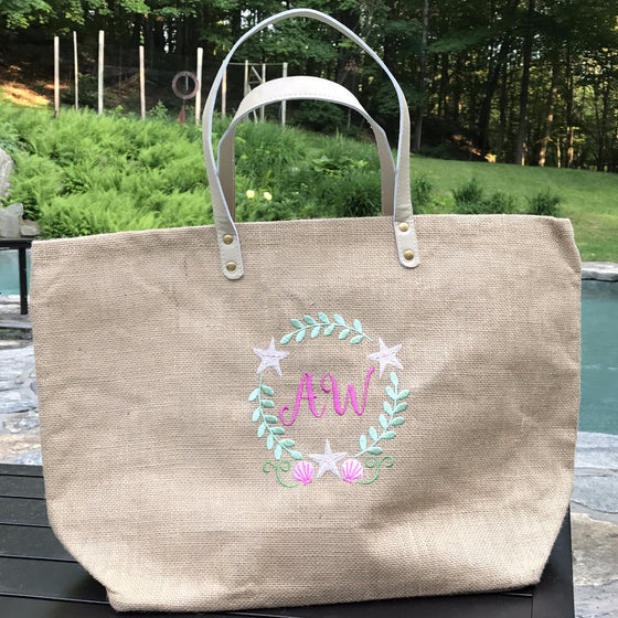 Monogrammed Personalized Jute Burlap Shopping Tote / Purse