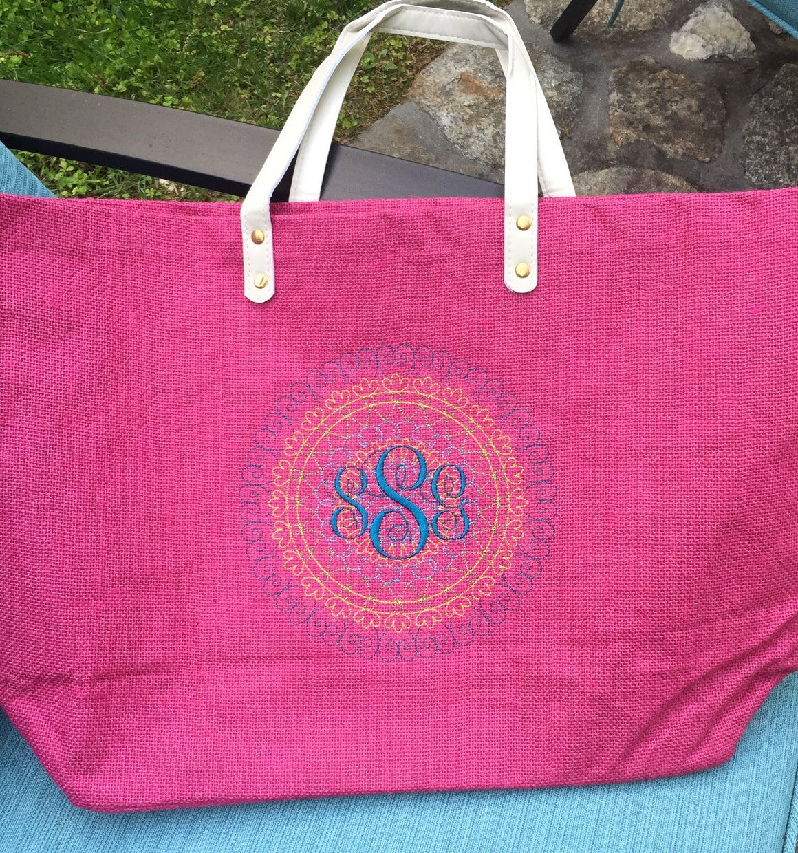 Monogrammed Personalized Shopping Tote Purse Jute Burlap Rafia
