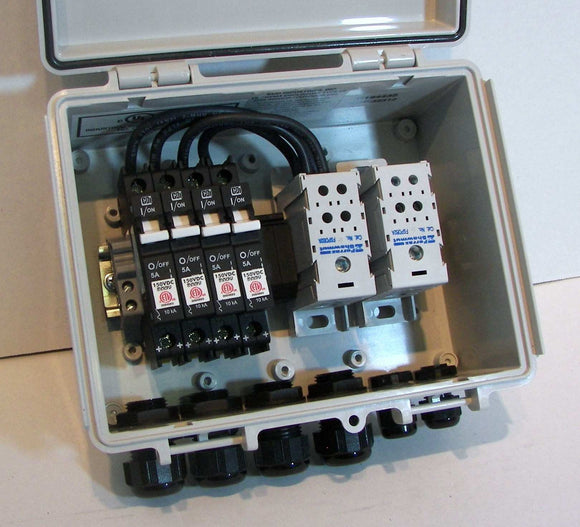 2, 3 or 4-String Compact Solar Combiner Box - 300V Breakers