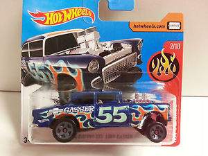 HOT WHEELS 1955 CHEVY BEL AIR GASSER FLAMES MATTEL DVB74