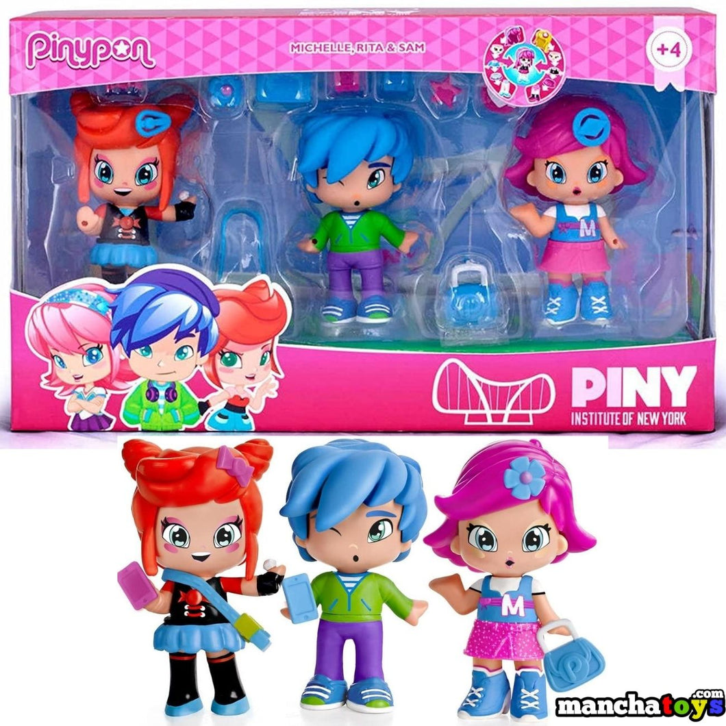 PINYPON PACK 3 FIGURAS MICHELLE, RITA Y SAM