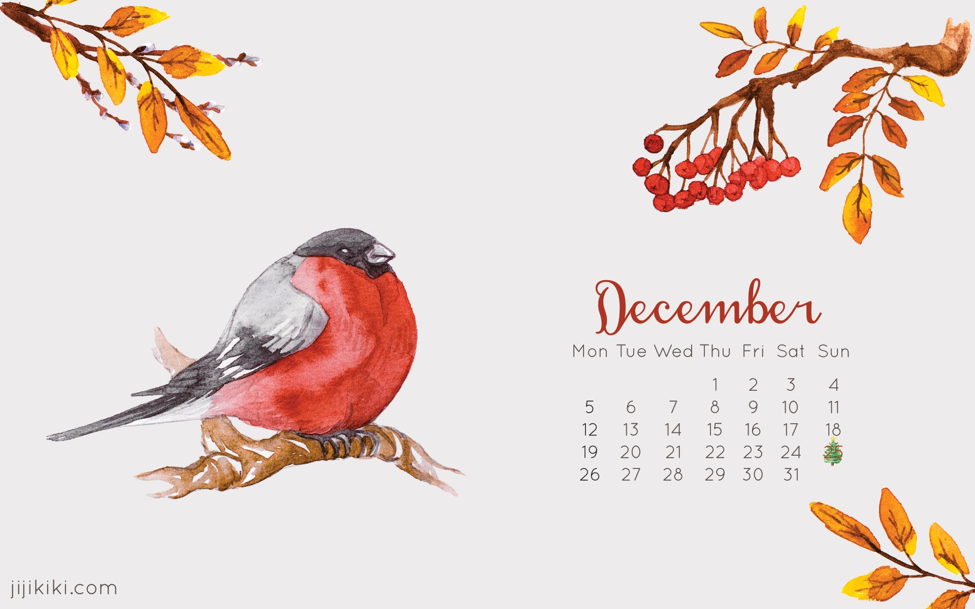 December 2016 Free Desktop Calendar Christmas Wallpaper