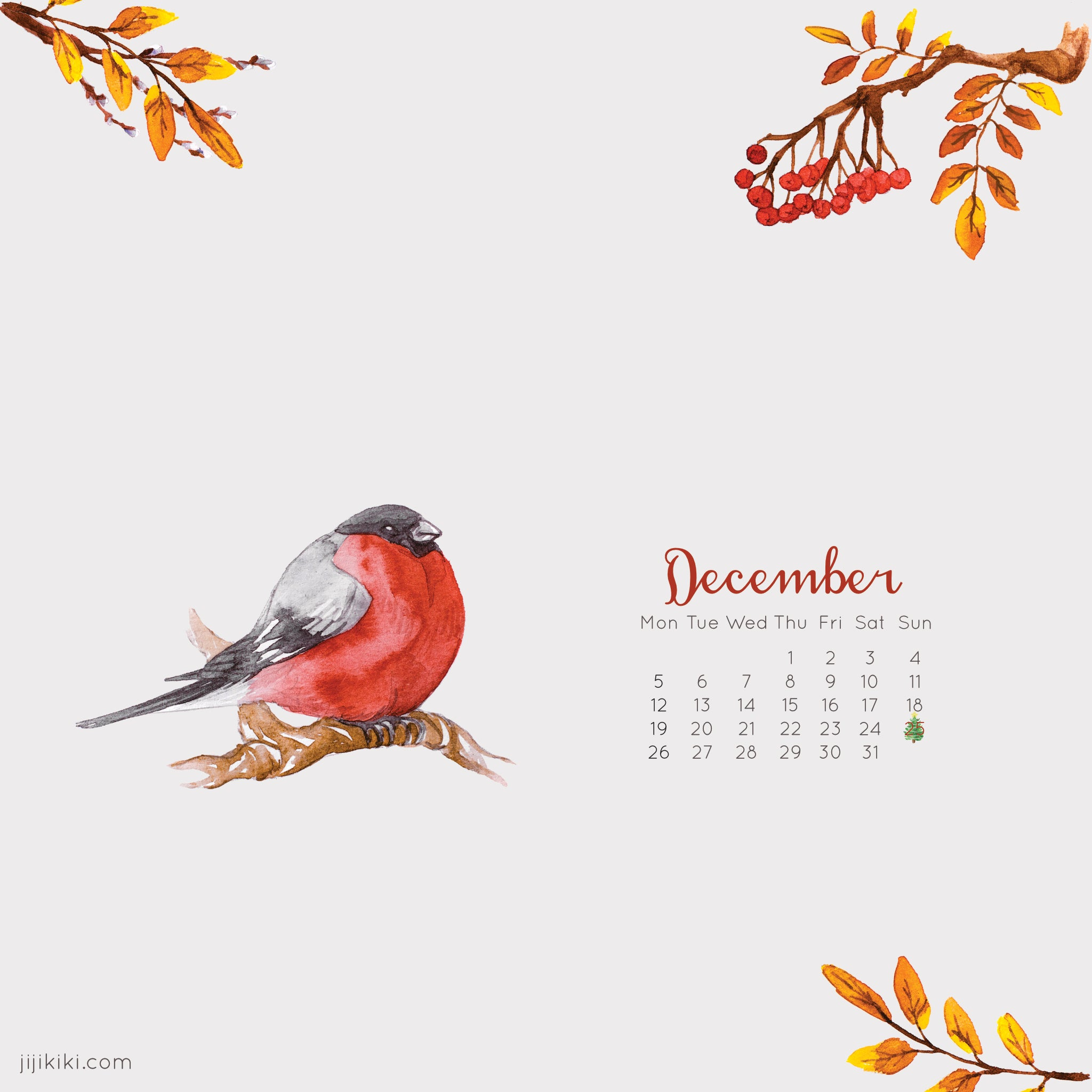 Free December 2016 iPad Tablet Calendar Christmas Winter Wallpaper