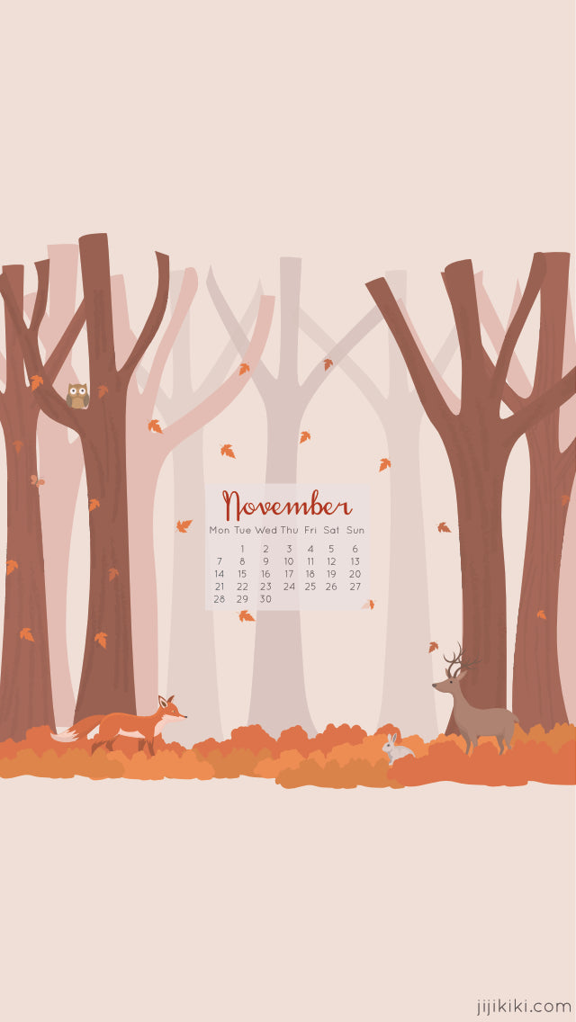 Free November 2016 Smartphone iPhone Android Autumn Fall Calendar