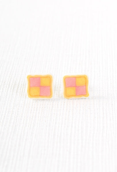 Layla Amber Battenberg Cake Quirky Earrings