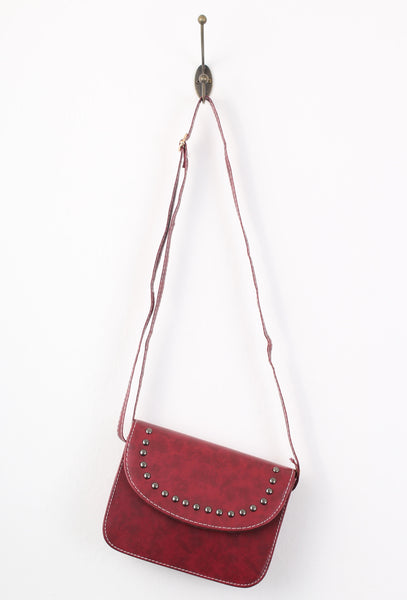 Burgundy Red Rivet Metal Dots Cross Body Bag