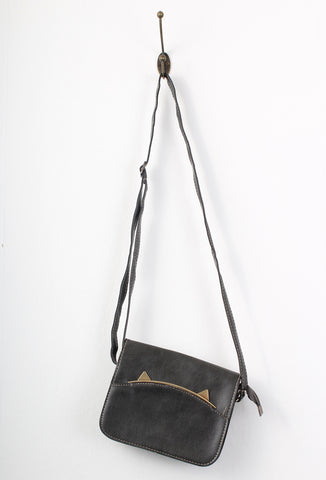 Small Grey Charcoal Gold Cat Ear Cross Body Bag