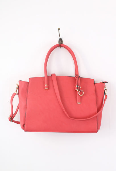 Coral Structured Tote Shoulder Bag