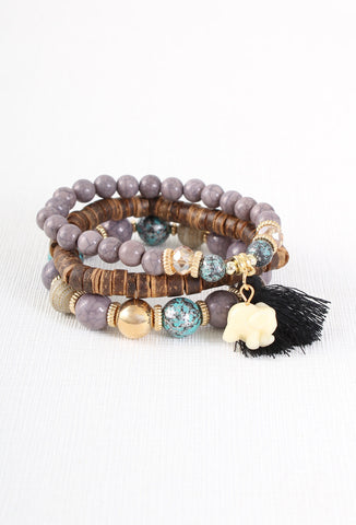 Purple Bead Elephant Boho Bracelet