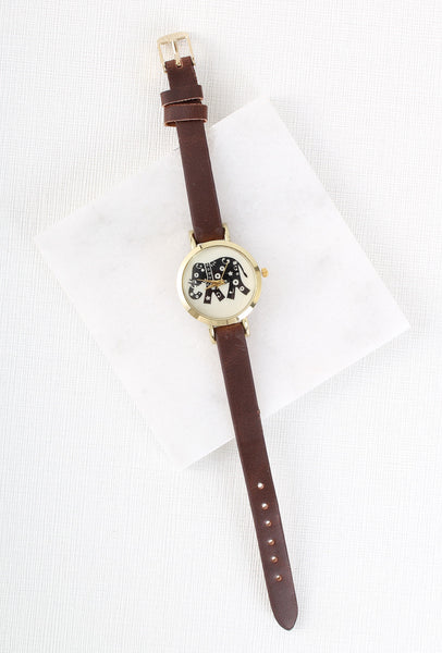 Elephant Safari Time Watch. Brown and Gold Boho Style