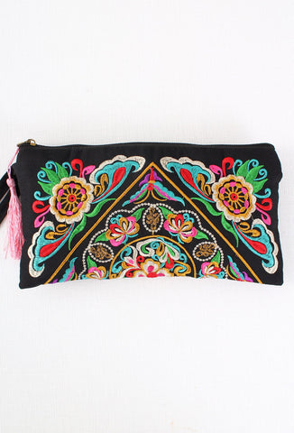 Bright Colourful Embroidered Butterfly Flower Clutch Bag