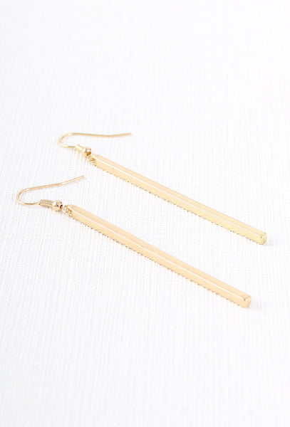Thin Gold Bar Earrings
