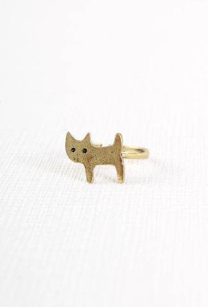 Cute Gold Cat Ring
