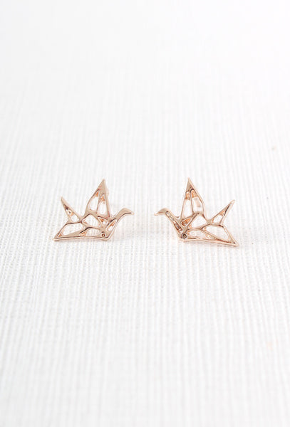 Rose Gold Origami Crane Stud Earrings