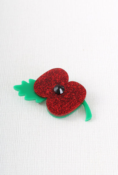 Large Glitter Poppy Appeal Brooch
