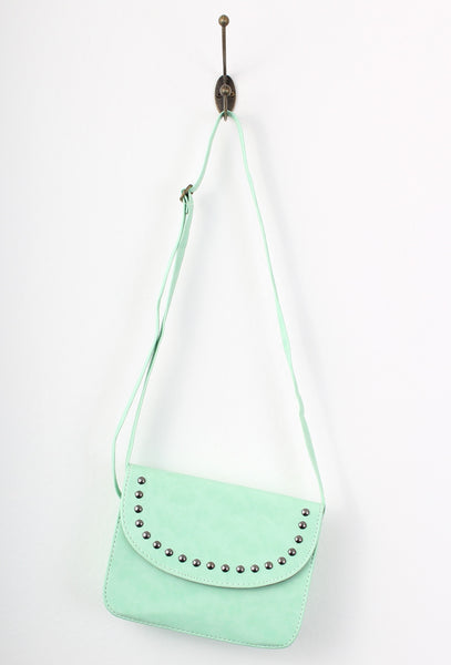 Mint Green Rivet Metal Dots Cross Body Bag