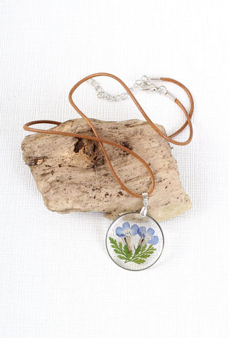 Miniature Botanist Blue Pressed Dried Flower Necklace