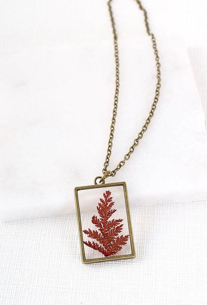 Vintage Style Pressed Fern Dried Flower Necklace