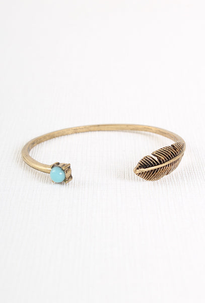 Free as a Bird Turquoise Feather Boho Bracelet Bangle