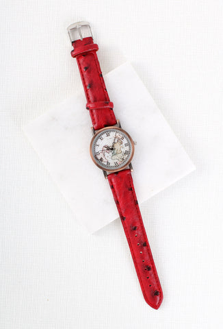 Vintage Style Map Watch Red
