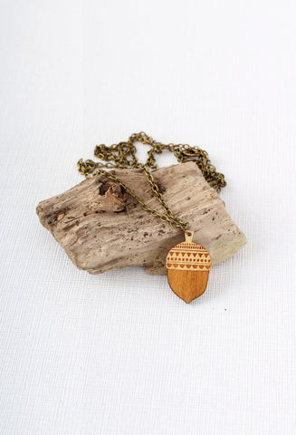 Layla Amber Wooden Acorn Necklace