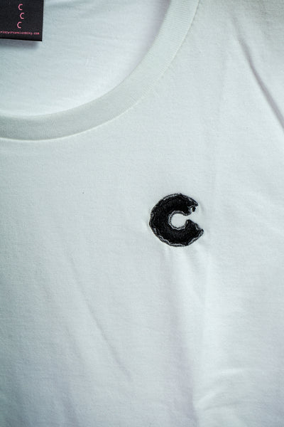 Women's Single C T-Shirt in White & Black