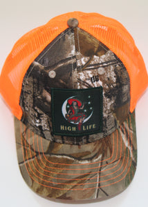 High Life Trucker Cap in Camo & Neon Orange