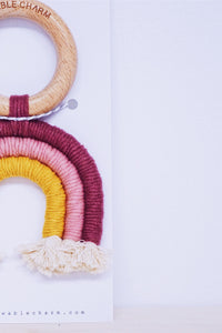 Rainbow Macrame Teether- Berry + Mustard