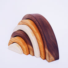 Load image into Gallery viewer, Natural Wooden Rainbow Stacking Toy