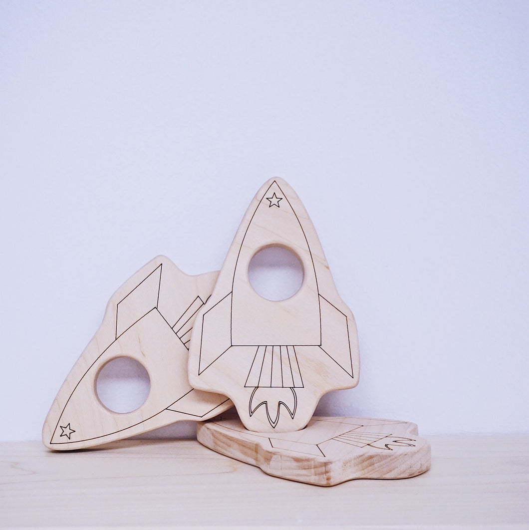 Wooden Rocket Teether