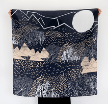 Load image into Gallery viewer, Japanese Furoshiki Wrap -Mountain Blossom Midnight Blue