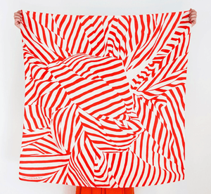 Japanese Furoshiki Wrap -Stripe in Red