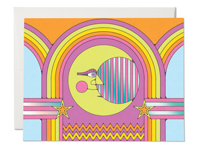 Moon And Rainbows Greeting Card