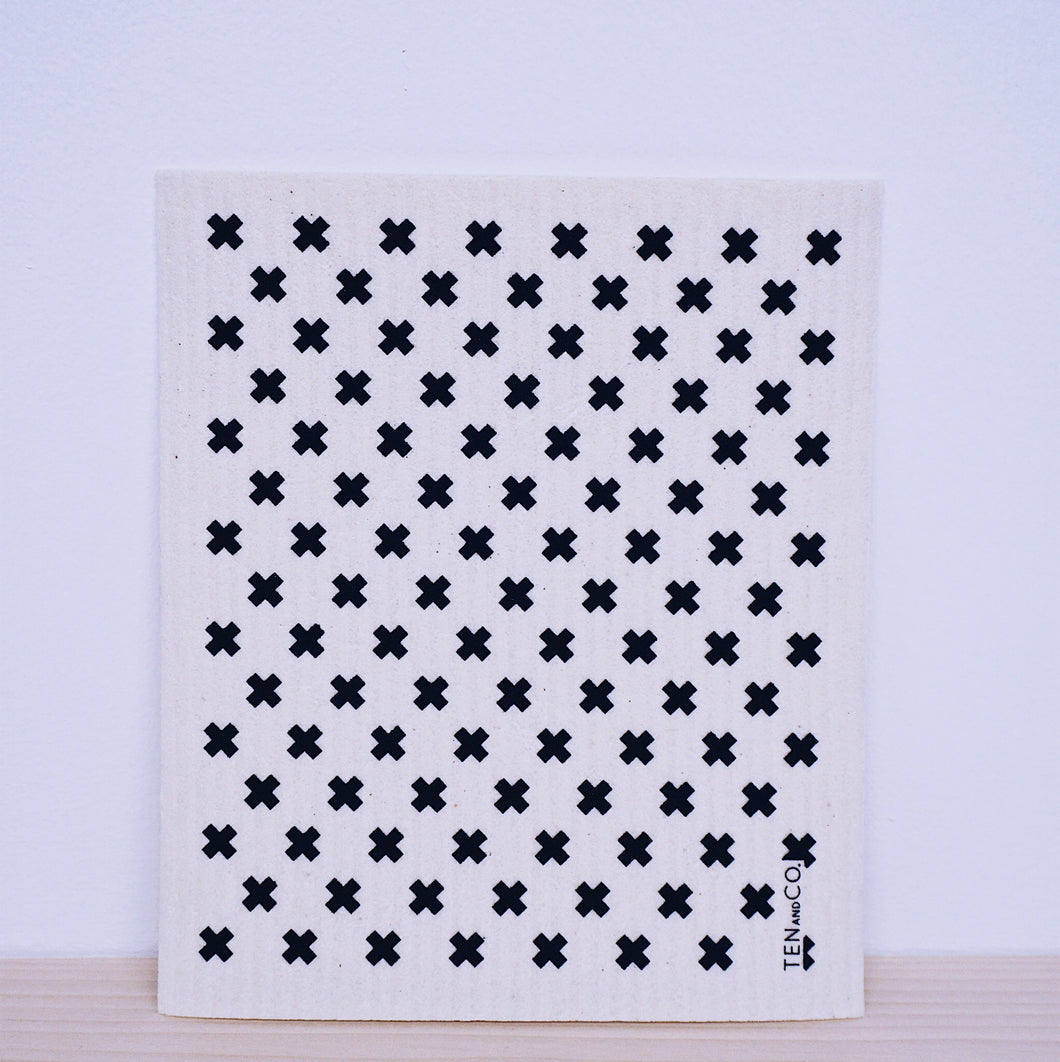 Tiny X Black Swedish Sponge Cloth