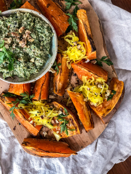 Sweet Potato Wedges with Golden Kraut