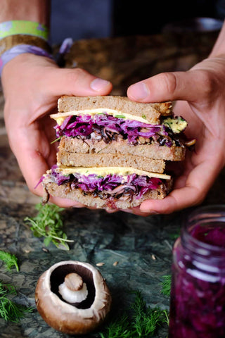 "Vegan Reuben Sandwich – ""Purple Rain edition"""