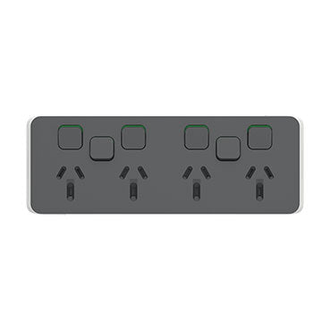Clipsal Iconic Quad Powerpoint 10a With 2 Extra Switches - Skin Only, Anthracite