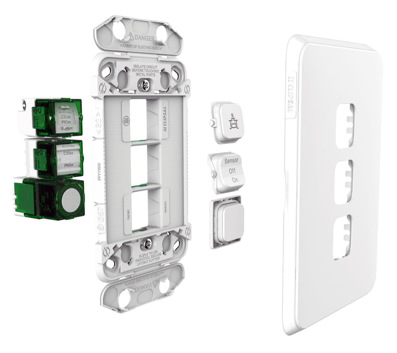 Clipsal Iconic 5 Gang Switch Plate - Skin Only, Silver