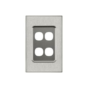Clipsal Saturn Series 4 Gang Grid And Plate Assembly, Horizon Silver