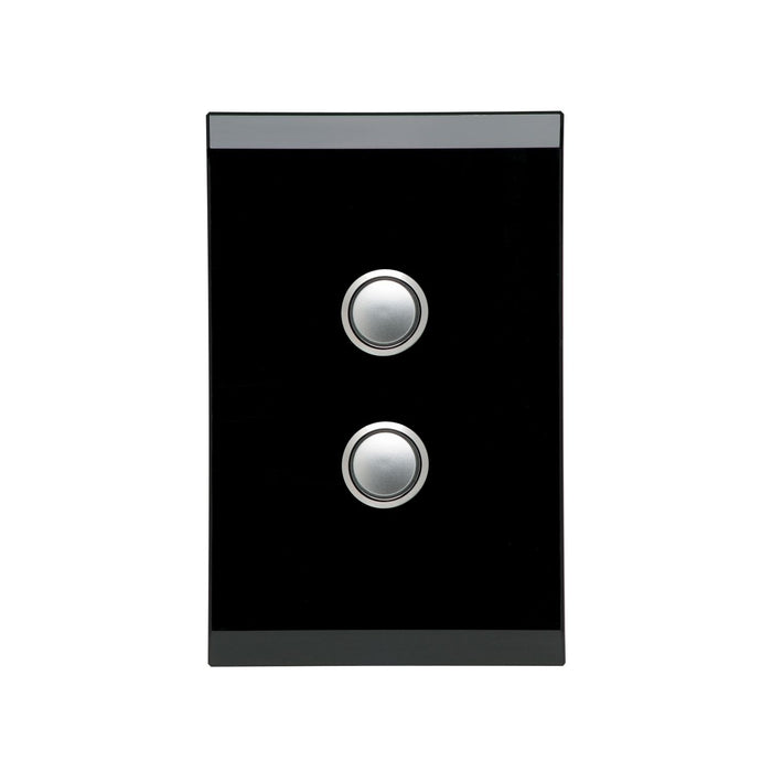 Clipsal Saturn Series 2 Gang Switch Plate - Cover Only, Espresso Black