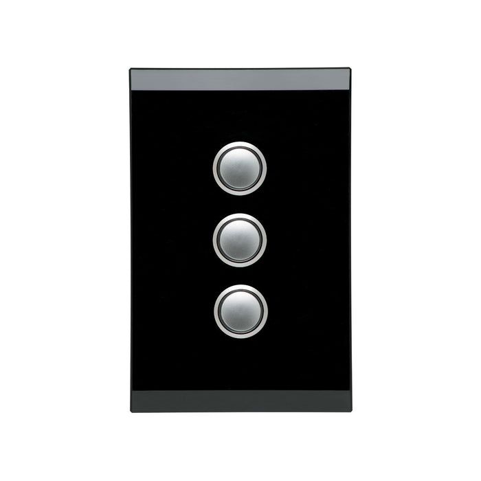 Clipsal Saturn Series 3 Gang Grid And Plate Assembly, Espresso Black