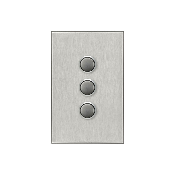 Clipsal Saturn Series 3 Gang Switch Plate - Cover Only, Horizon Silver