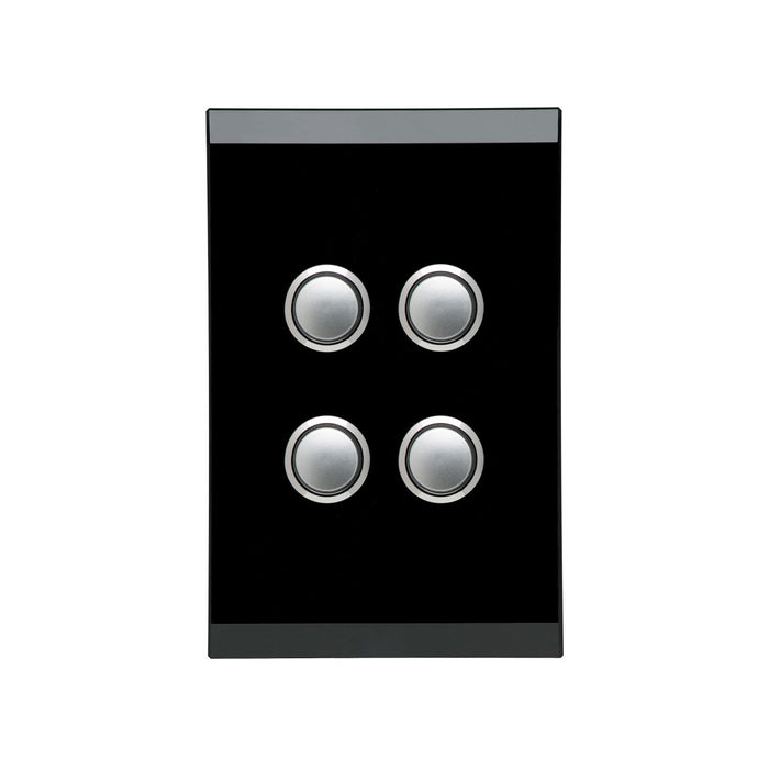 Clipsal Saturn Series 4 Gang Switch Plate - Cover Only, Espresso Black