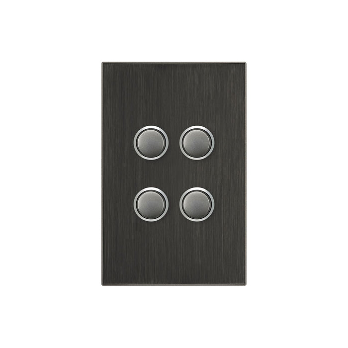 Clipsal Saturn Series 4 Gang Switch Plate - Cover Only, Horizon Black