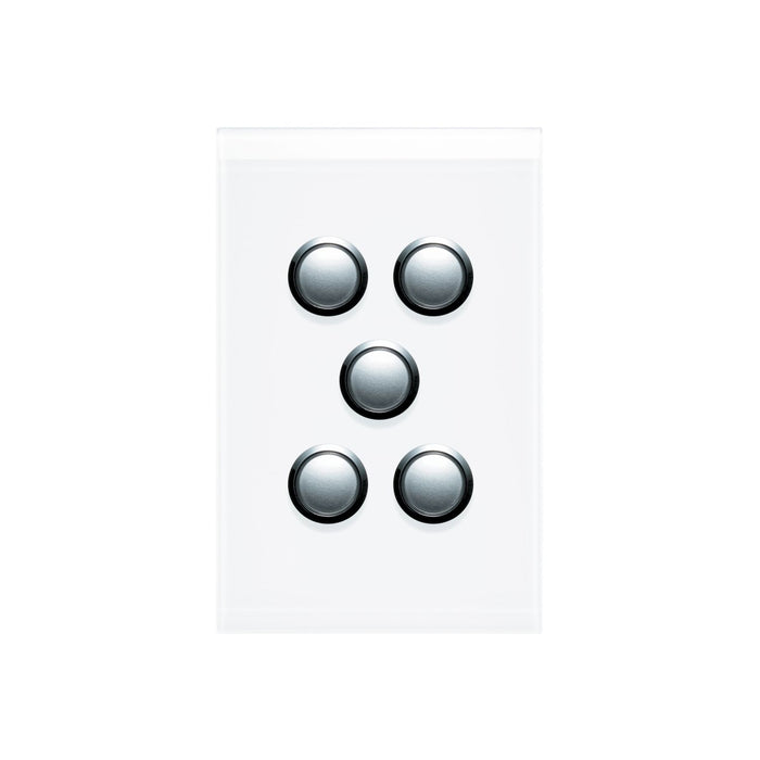 Clipsal Saturn Series 5 Gang Switch Plate - Cover Only, Pure White