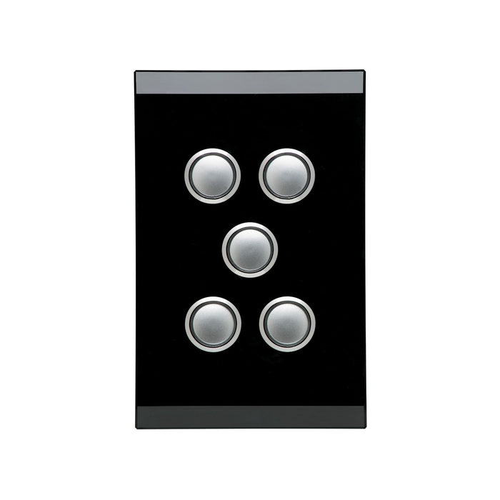 Clipsal Saturn Series 5 Gang Switch Plate - Cover Only, Espresso Black