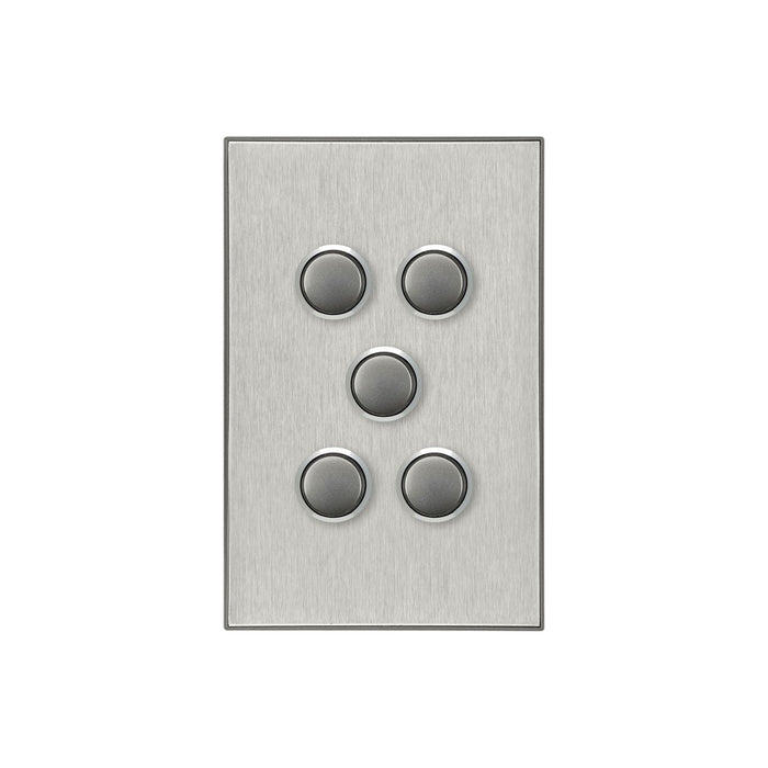 Clipsal Saturn Series 5 Gang Switch Plate - Cover Only, Horizon Silver